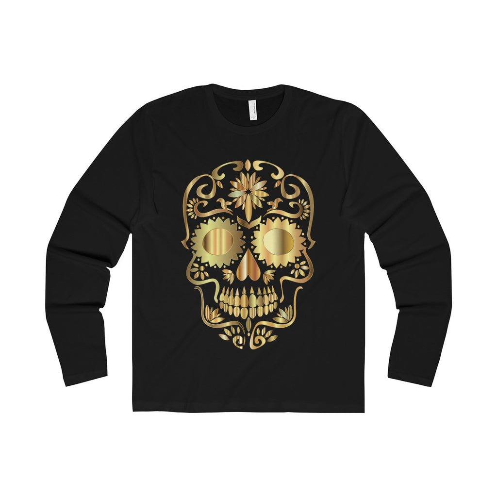 [custom_t-shirts] - [custom-t-shirt] - Slim Fit Golden Skull Halloween and Day of the Dead neatees