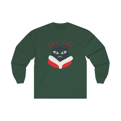 Miss Kitty Santa with Bows and Fur Collar Unisex Preshrunk Long Sleeve Tee - neateeshirts