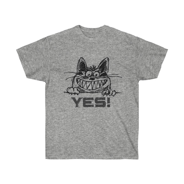 Grinning Cat Says YES in a Sketch T-shirt Design for Men and Women