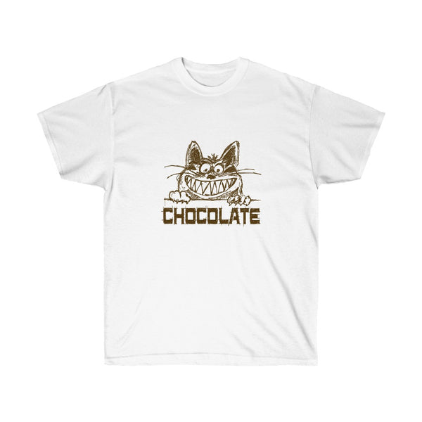 [custom_t-shirts] - [custom-t-shirt] - Grinning Cat Says Chocolate for Men and Women Who Love Both neatees