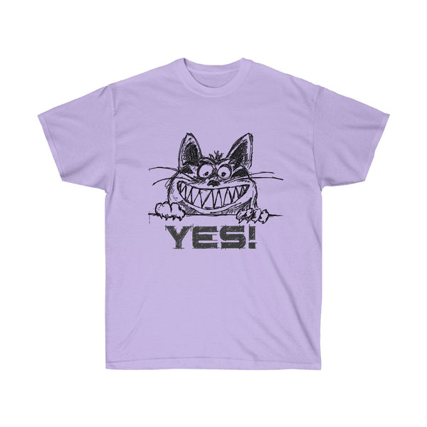 Grinning Cat Says YES in a Sketch T-shirt Design for Men and Women - neateeshirts