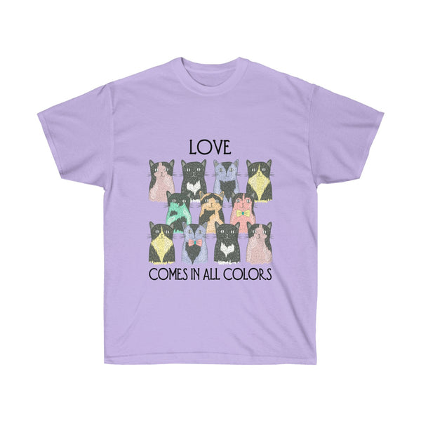 [custom_t-shirts] - [custom-t-shirt] - Love Comes in All Colors Cat Unisex T-shirt for Men and Women neatees