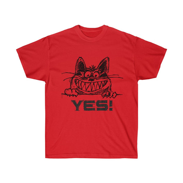 [custom_t-shirts] - [custom-t-shirt] - Yes! Grinning Cat in an Ultra Cotton T-Shirt neatees