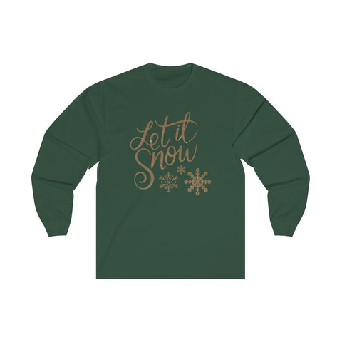 [custom_t-shirts] - [custom-t-shirt] - Let it Snow Glitter Look in Unisex Long Sleeve Tee for Men and Women neatees