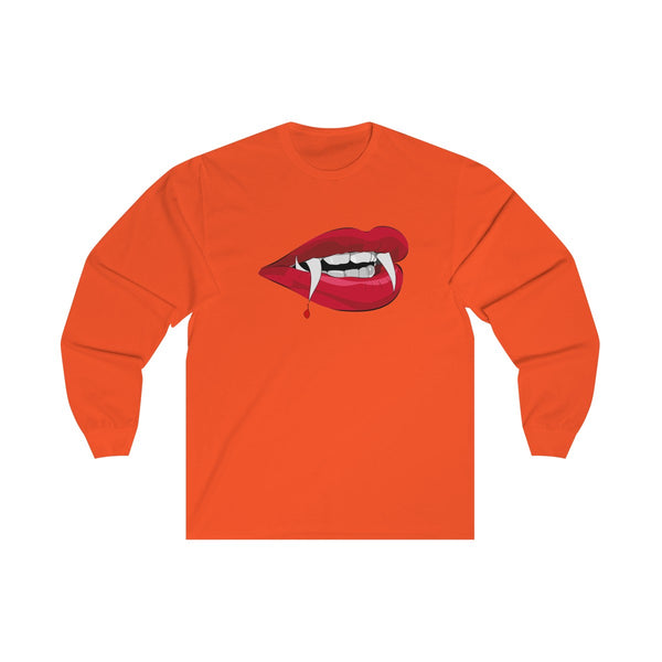 [custom_t-shirts] - [custom-t-shirt] - Kiss Me You Fool, Vampire Lips Unisex Long Sleeve Preshrunk Cotton Tee for Men and Women neatees