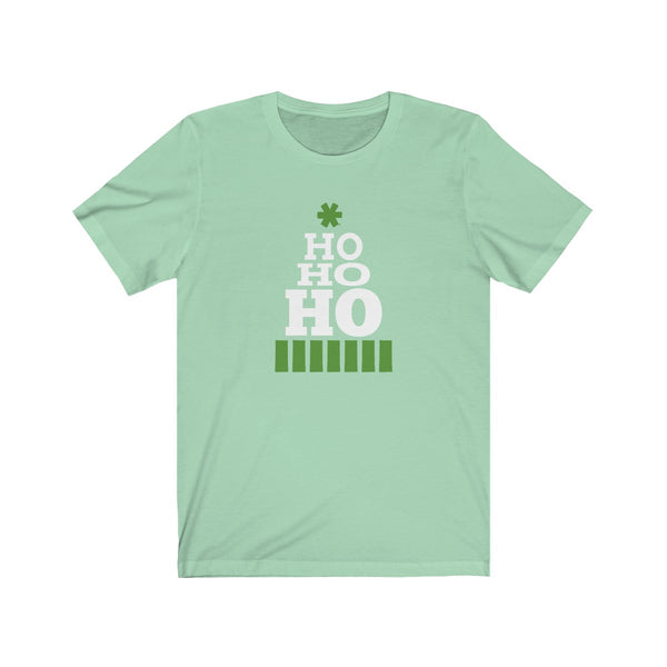 Ho, Ho, Ho, written in graduating letter sizes and shaped like an evergreen Christmas tree on Bella Canvas Unisex Tee - neateeshirts