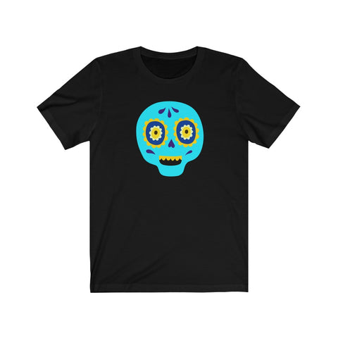 [custom_t-shirts] - [custom-t-shirt] - Calaveras Skull Painted for Dia de los Muertos The Day of the Dead - Cyan neatees