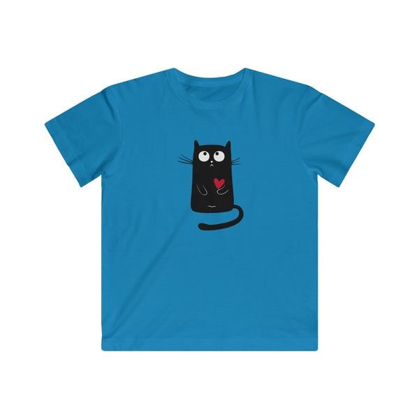 Black Kitty with Red Heart Animal T-shirt for Kids - Fine Jersey Tee - neateeshirts