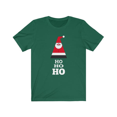 [custom_t-shirts] - [custom-t-shirt] - Geometric Santa Claus and Ho Ho Ho in Green or Red  on Unisex Bella Canvas  T-shirt neatees