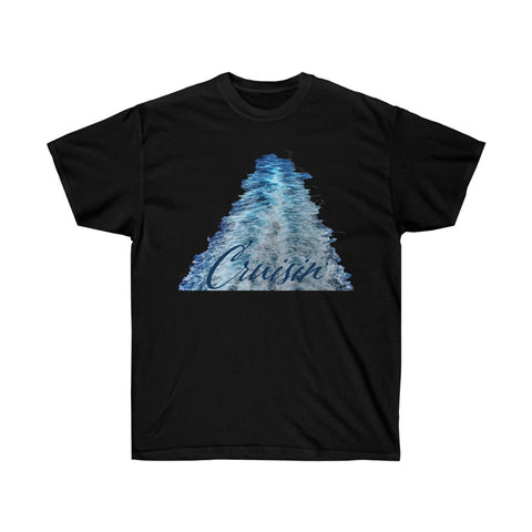 [custom_t-shirts] - [custom-t-shirt] - Cruise Ship Wake with words Cruisin' in Shades of Blue neatees