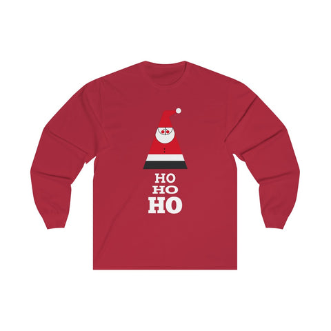 [custom_t-shirts] - [custom-t-shirt] - Geometric Santa Claus and Ho Ho Ho on a Long sleeve Unisex Preshrunk Cotton Delta T-shirt neatees