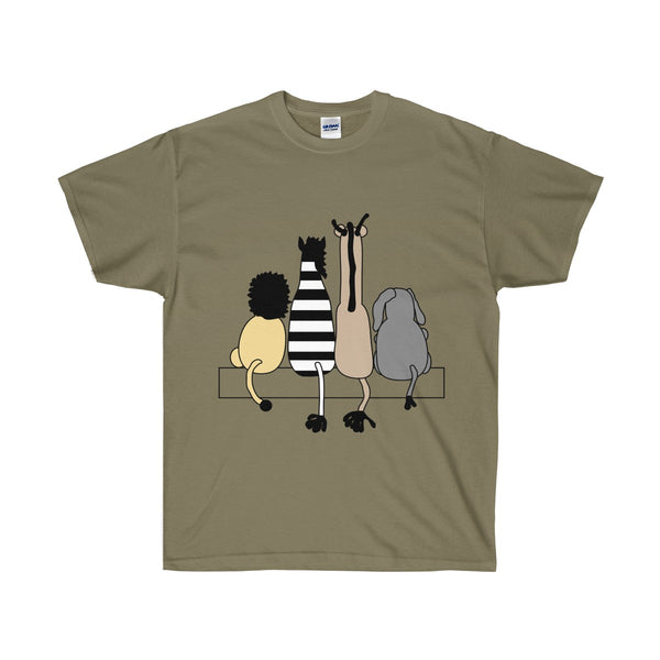 [custom_t-shirts] - [custom-t-shirt] - Four Friends Cartoon Animals Sitting Together T-shirt neatees