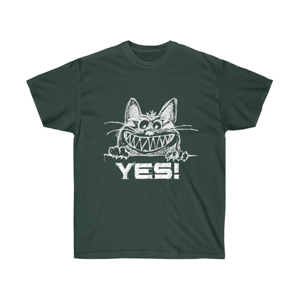 [custom_t-shirts] - [custom-t-shirt] - Grinning Yes Cat Sketch T-Shirt in White Print neatees