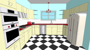 Vintage Steel Kitchen Cabinetry - 1957 Youngstown - Chevron Pulls