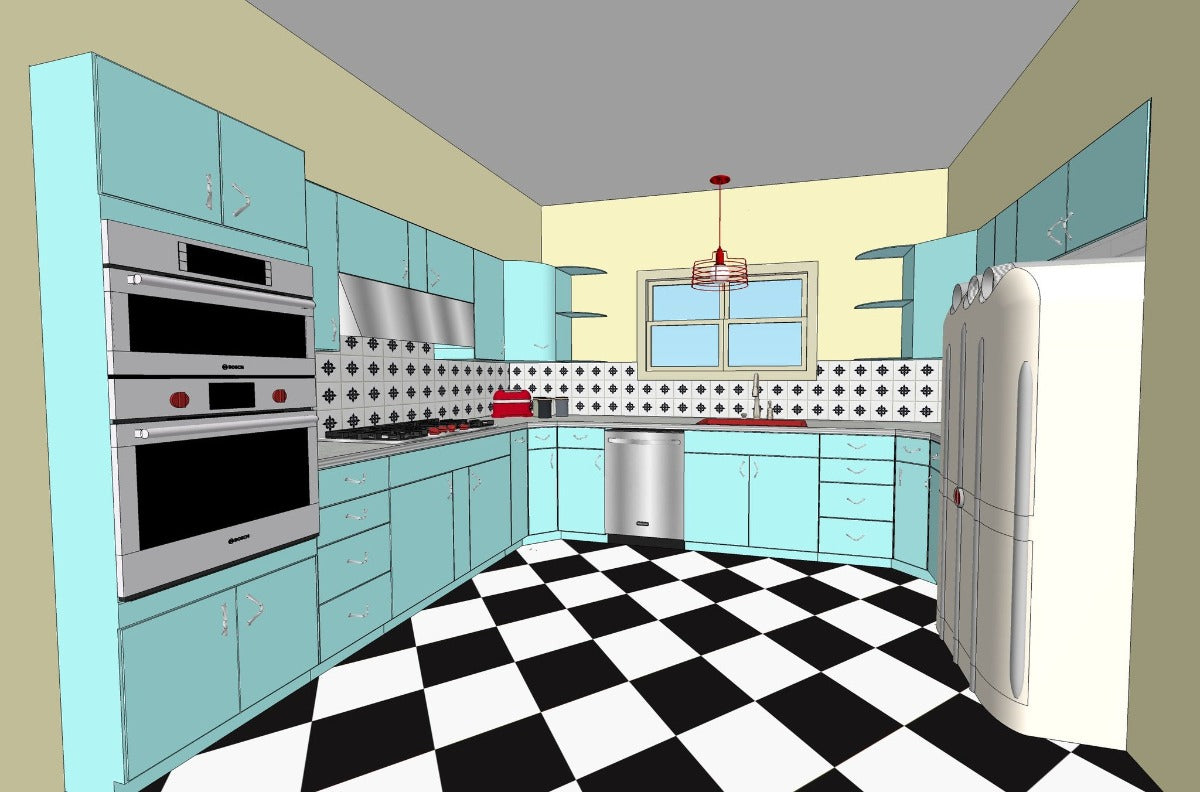 Vintage Steel Kitchen Cabinetry - 1957 Youngstown - Chevron Pulls ...