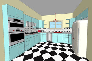 Aquamarine Rendering - Vintage Metal Youngstown Cabinets - Retro Kitchen