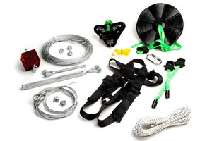 100 Foot X3-H100 Zip line Kit with Harness + Flexi Seat + Disc Seat - Zip Line Stop