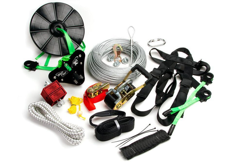 150 Foot X3-H150 Premium Zipline Kit with Adjustable Harness + Flexi Seat + Disc Seat - Zip Line Stop