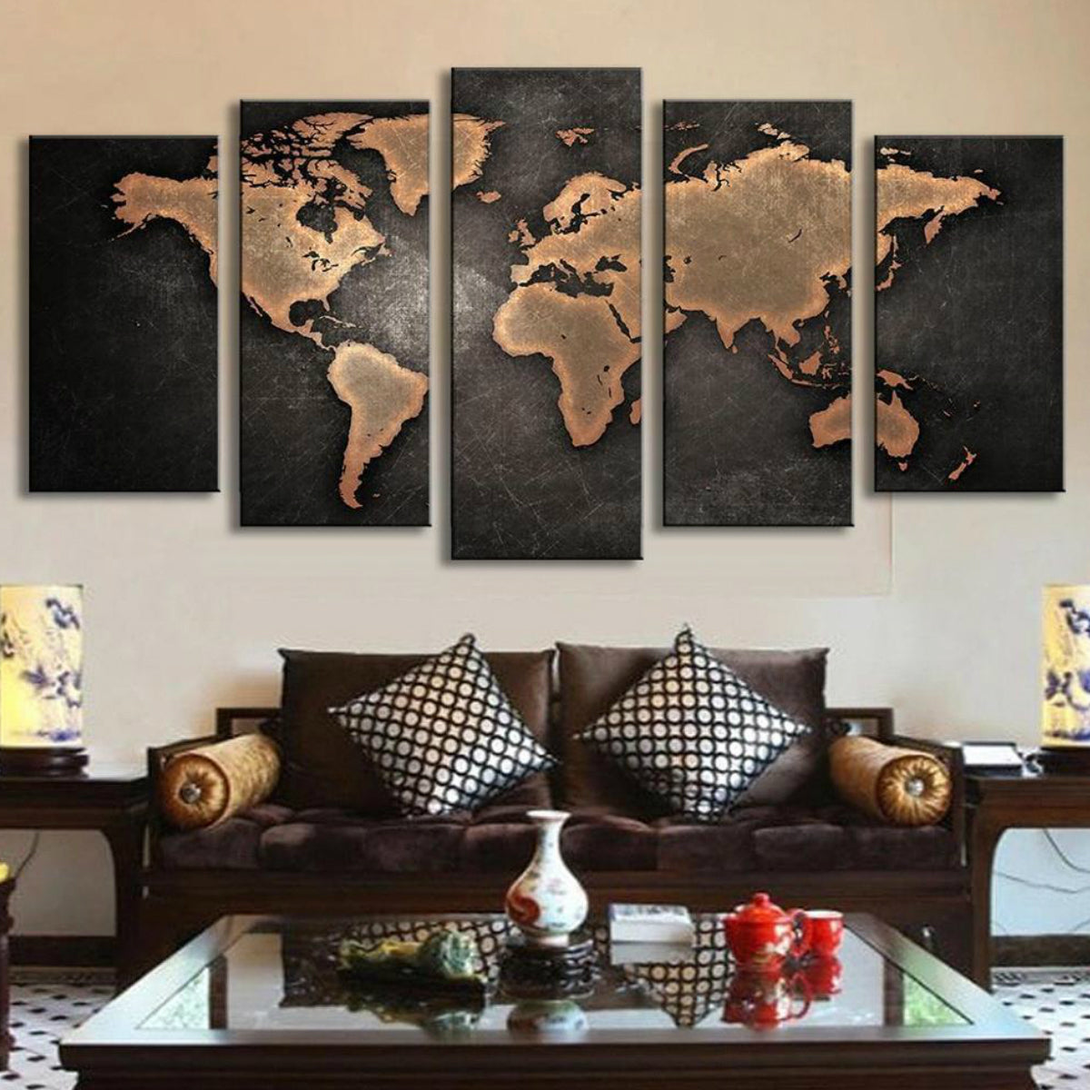 Black world map canvas lush gothic black world map canvas gumiabroncs Image collections