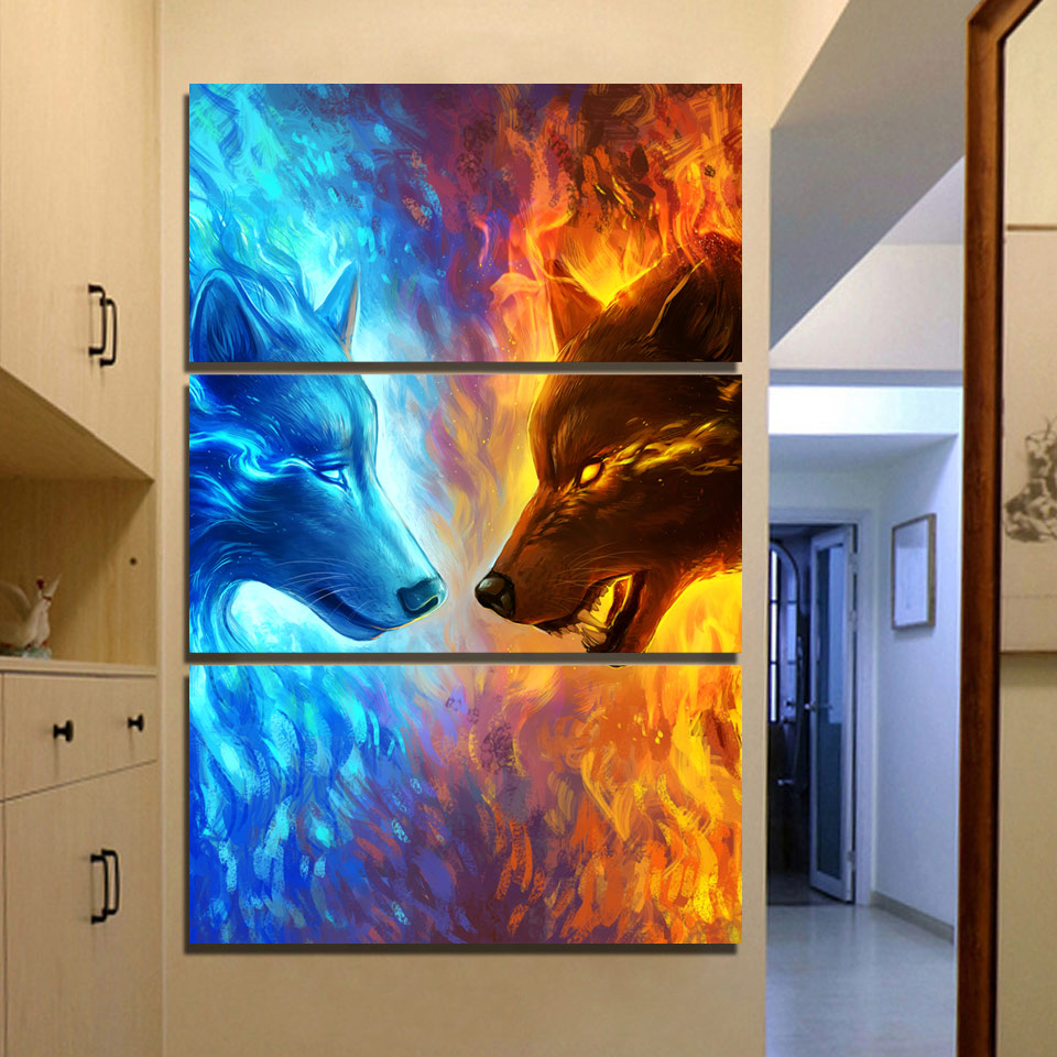 fire and ice wolves 3 panel canvas lush gothic