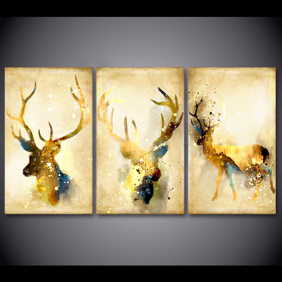 Abstract Deer Canvas - Lush Gothic