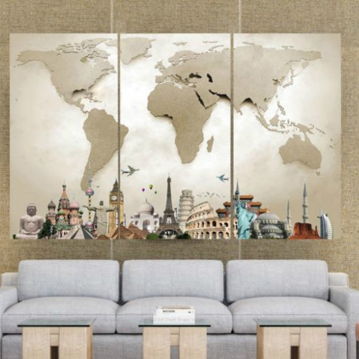 Around The World Map Canvas Lush Gothic - World map canvas