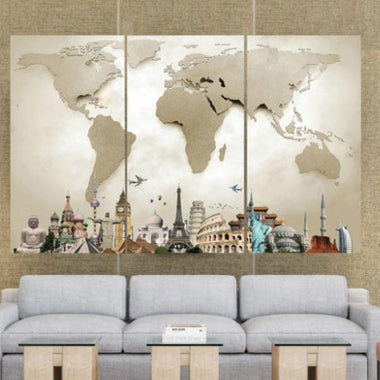 Wall art lush gothic around the world map canvas gumiabroncs Image collections