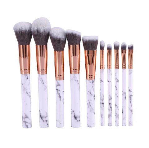10 Marble Makeup Brush TRAVEL Set