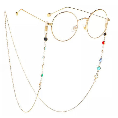 Sunglass chain - Gold + Color Cristals
