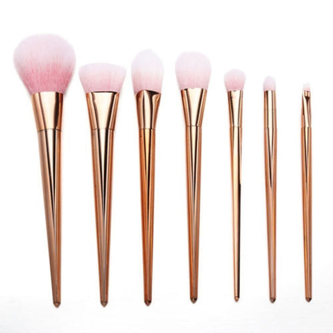 7 Rose Gold Makeup Brush Set