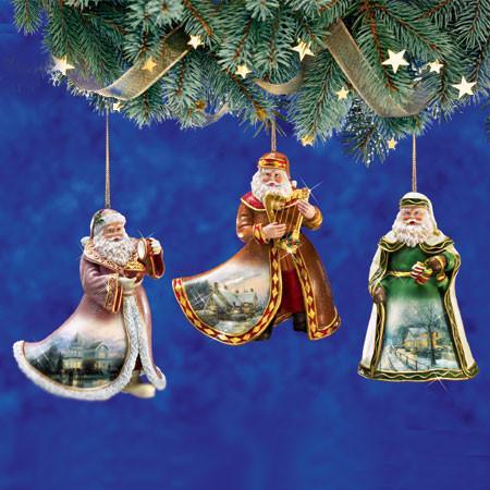World renowned artist Thomas Kinkade in a collections of Christmas Ornaments