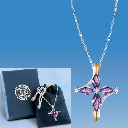 (RJ) AMETHYST AND DIAMOND TRINITY CROSS PENDANT 0113446002-T SOLD OUT!