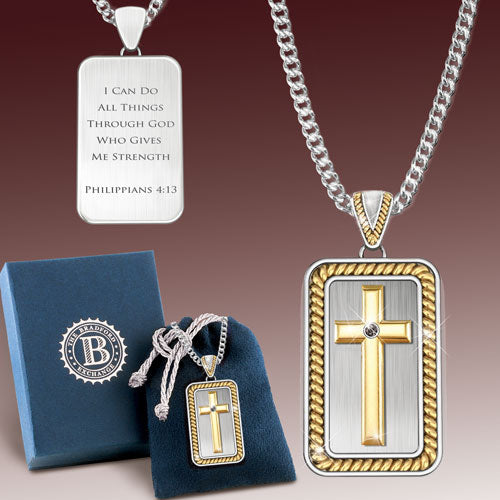 (RJ) STRENGTH IN GOD DOGTAG NECKLACE 0119799001-T