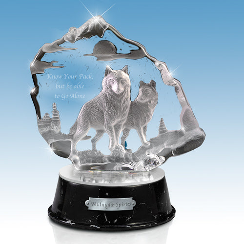 (DM) GLASS SCULPTURE - MIDNIGHT SPIRIT WOLF 0123627003-T