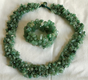 (JF) Handmade Dark Green Jade Necklace with Bracelet 0903-43/36-13