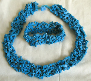 (JF) Handmade Turquoise Necklace with Stretch Bracelet 0903-43/36-2