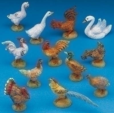 12 Piece Set of Barnyard Birds