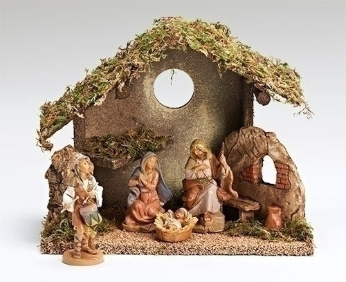 4 Piece Nativity Set with Italian Stable