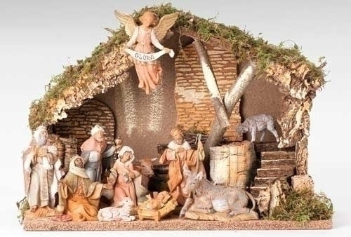 11 Piece Nativity Set with Italian Stable