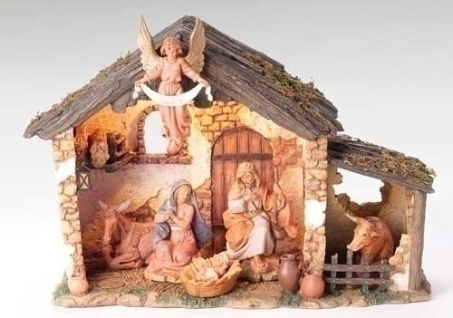 6 Piece Nativity Set with Lit Stable