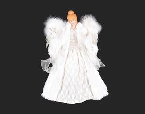 "Angel - 16"" Beige Lace Angel with Bird - 8A8T"