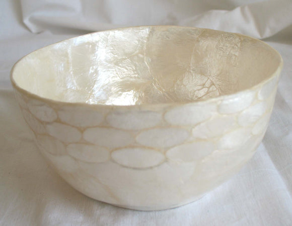 (CA) Small Natural Colour Capiz Shell Bowl - Handmade! BL204102N-T