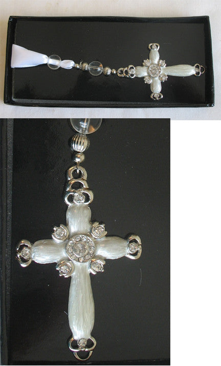 (C) Book Mark - Cross Crystals Ivory Cream 11 x 4 x 1 cm BM1035D
