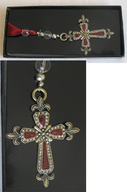 (C) Book Mark - Cross Burgundy Crystals 11cm x 5 x 1cm BM1036A