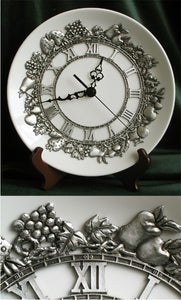 (P) Pewter Decorative Porcelain Table Clock 22.5 x 22.5 x 4.55 cm C1-0102DC