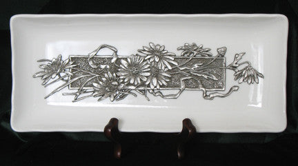 (P) Pewter Decorative Porcelain Plate/Tray 29.0 x 12.4 x 3.5cm C1-0801WD