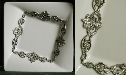 (P) 15.2 x 15.2 x 3.5 cm Jewelry Tray Pewter Decorated Porcelain C1-1902JT