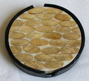 (CA) Handmade Capiz Shell Coasters Set of 4 (Double Sided) Round CT204128S-T