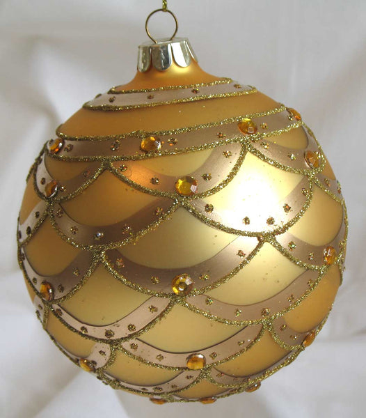 Glass Ball Christmas Ornament 10 cm *Gold with Crystals* CTB0010-2-T