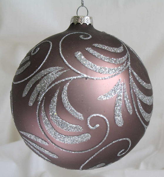 Glass Ball Christmas Ornament 10 cm Mauve w silver glitter SOLD OUT!